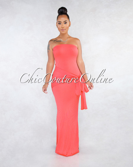 Tyler Coral Strapless Ribbed Overlay Tie Detail Maxi Dress