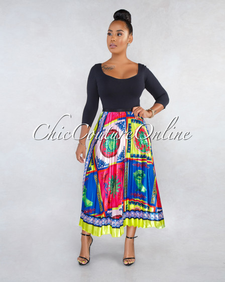 Sylvia Green Multi-Color Print Pleated Midi Skirt
