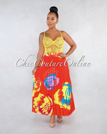 Dorian Red Multi-Color Print Belt Pleated Midi Skirt