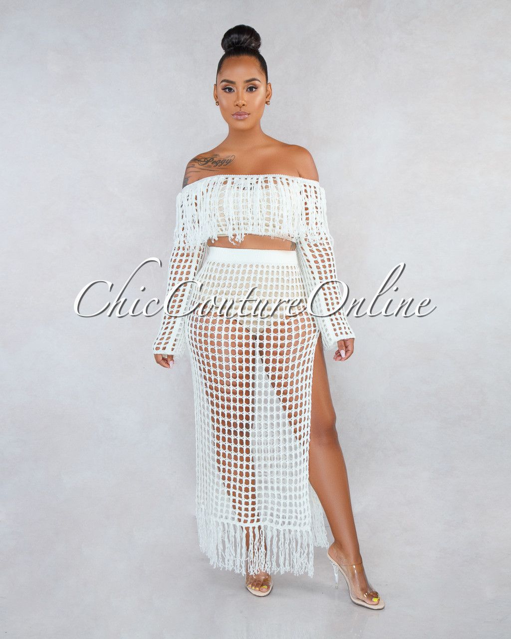 Arsenia Off White Crochet See Through Cover Up Two Piece Set