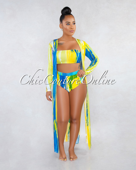 Felicidad Yellow Multi-Color Print Three Piece Set Swimsuit