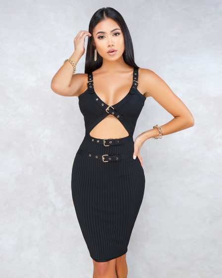 Barcelona Black Gold Belt Details Bandage Dress