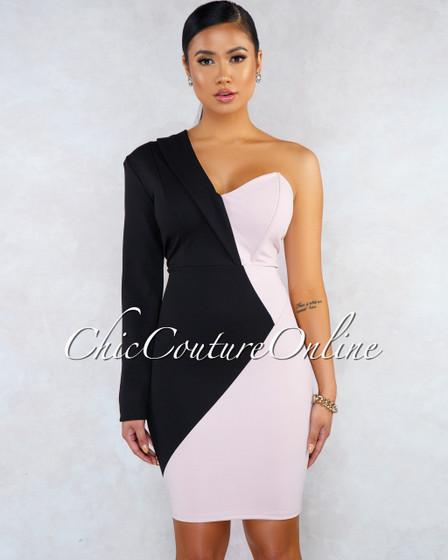 Ranthia Black Blush Two-Tone Single Long Sleeves Dress