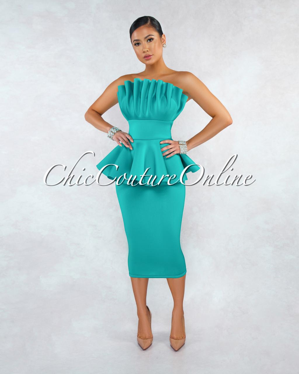 9096e1d97fc Tilla Jade Structured Midi Peplum Ponti Dress