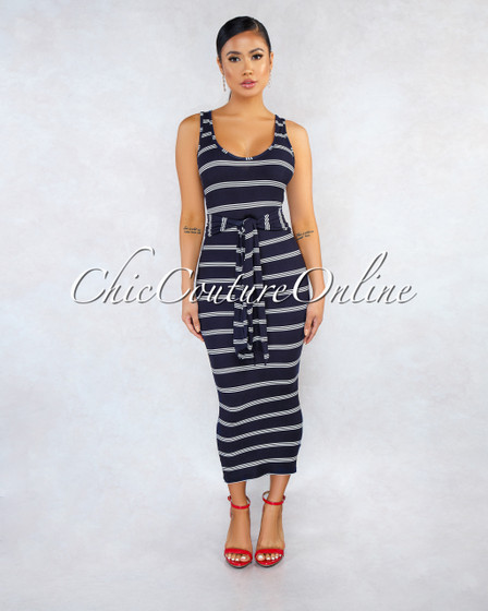 Yusef Navy Blue White Stripes Self-Tie Belt Midi Dress