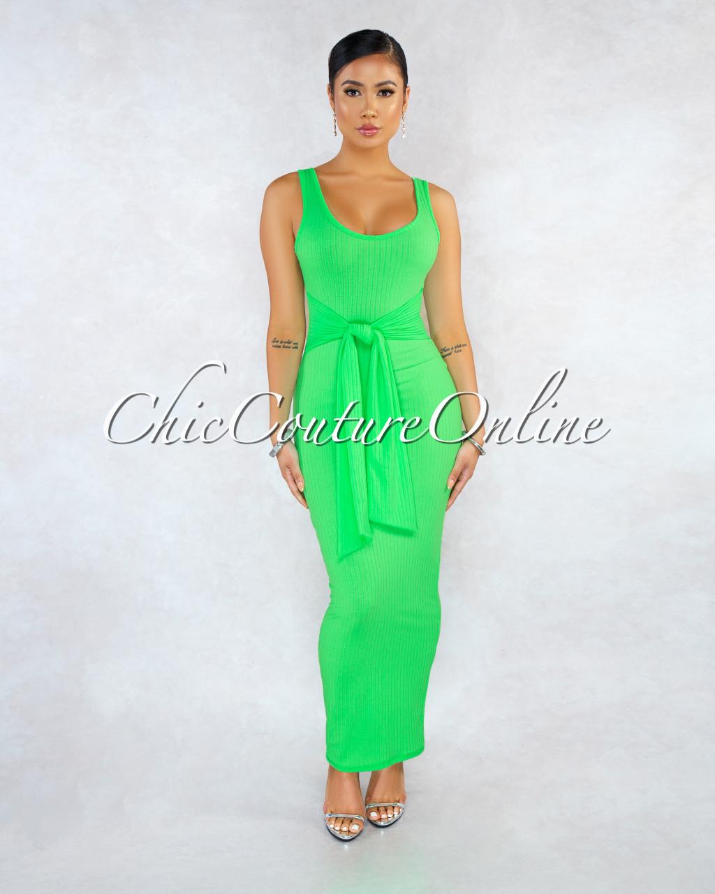 829c4445 Zara Neon Green Tank Ribbed Front Tie Maxi Dress