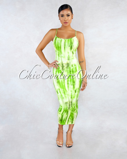 Windaflor Green Tye-Dye Tank Style Midi Dress