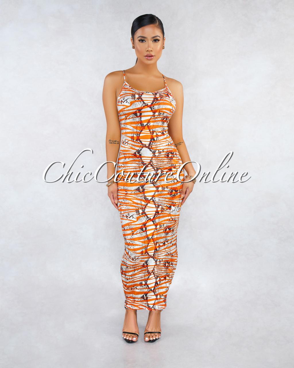 9c5608ff0e Yvonne Orange Snake Print Tank Style Maxi Dress