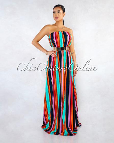 Roksa Orange Multi-Color Straps Strapless Maxi Dress