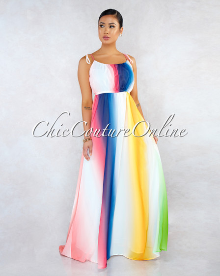Carlisle Ivory Multi Color Ombre Stripes Maxi Dress