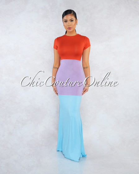 Sedona Orange Lilac Blue Color Block Maxi Dress
