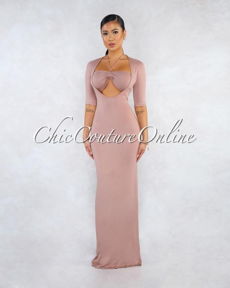 Kimbra Taupe Ruched Crop Top Maxi Dress Set