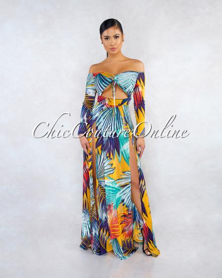 Lucilia Yellow Blue Leaf Print Mesh Cut-Out Maxi Dress