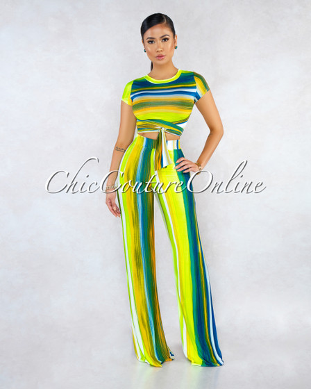 Solaris Neon Multi Color Front Tie Top Pants Two Piece Set