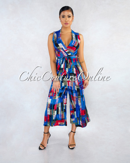 Trista Blue Red Multi-Color Print Faux Wrap Culotte Jumpsuit