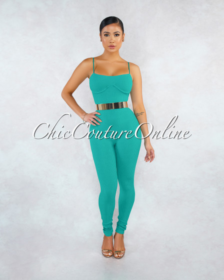 Joana Green Ribbed Fitted Cups Accent Jumpsuit