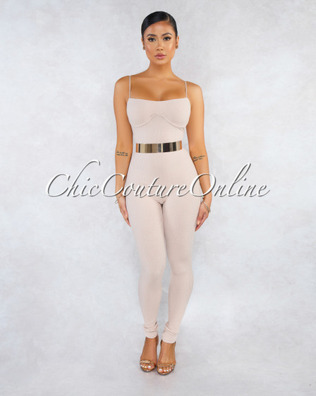 Joana Nude Ribbed Fitted Cups Accent Jumpsuit