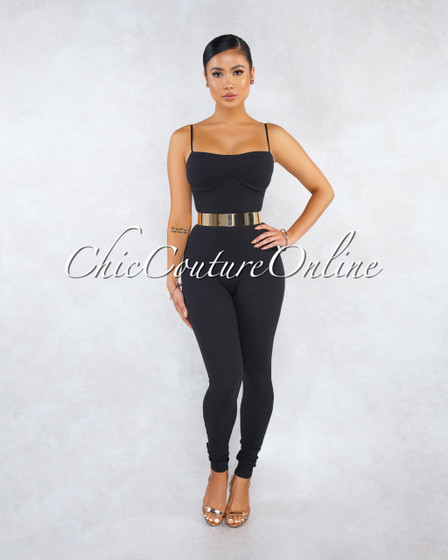 Joana Black Ribbed Fitted Cups Accent Jumpsuit