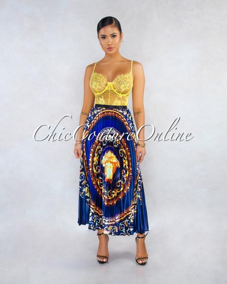 Sylvia Navy Blue Gold Multi-Color Print Pleated Midi Skirt