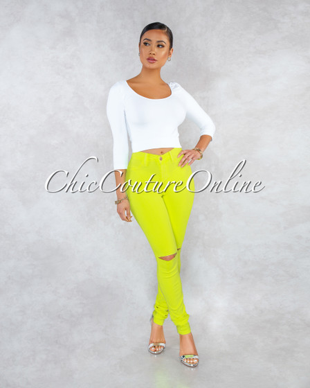Kenya Neon Yellow Denim Cut-Out Knees Jeans