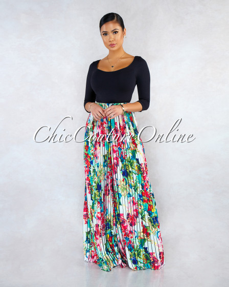 Waira Black Multi-Color Floral Print Pleated Wide Legs Pants