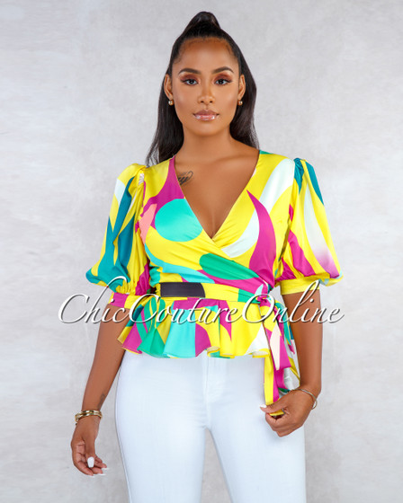 Brentwood Yellow Retro Print Puffy Sleeves Wrap Top