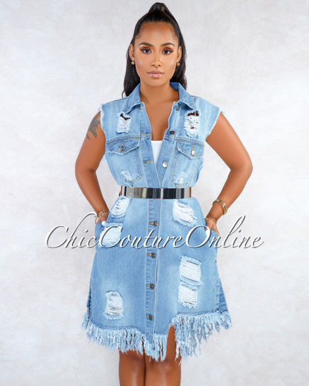 Charmy Blue Denim Destroyed Buttoned Open Back Dress