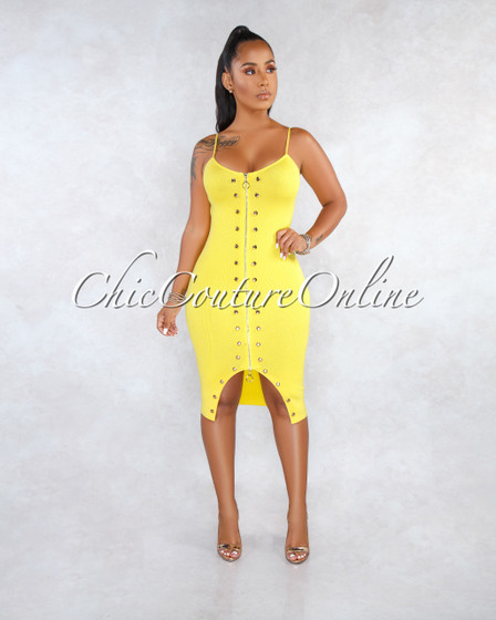 Garcelle Sunflower Yellow Knit Fitted Front Snaps Midi Dress