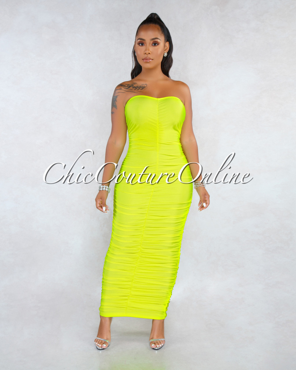 Kast Neon Lime Ruched Strapless Maxi Dress