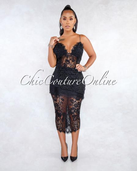 Rizza Black Lace Crochet Overlay Midi Dress