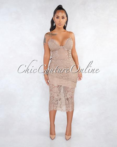Rizza Taupe Lace Crochet Overlay Midi Dress