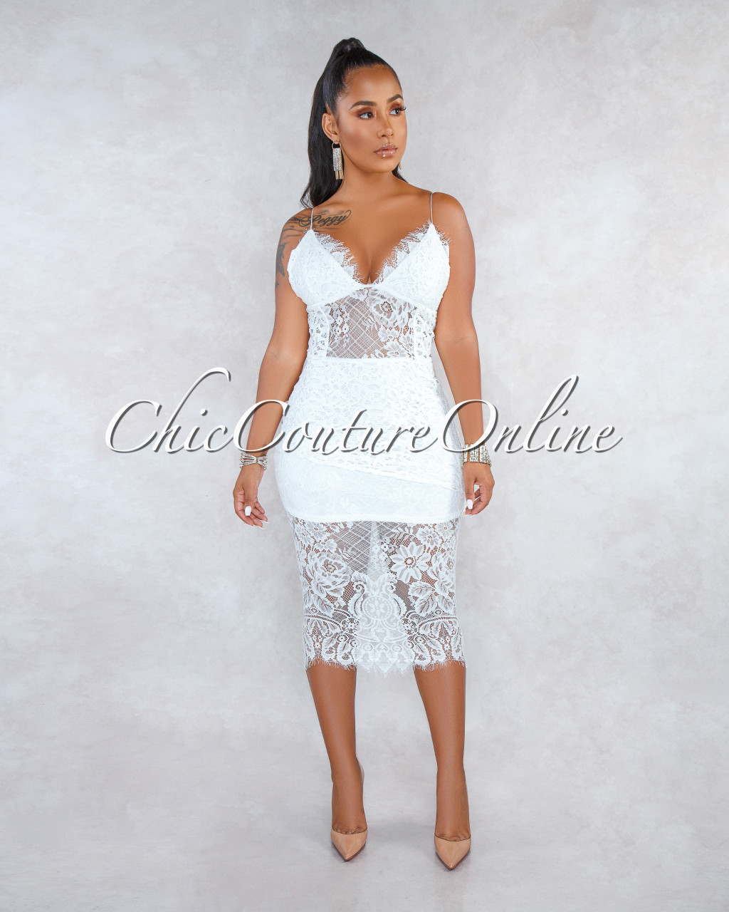Rizza Off White Lace Crochet Overlay Midi Dress