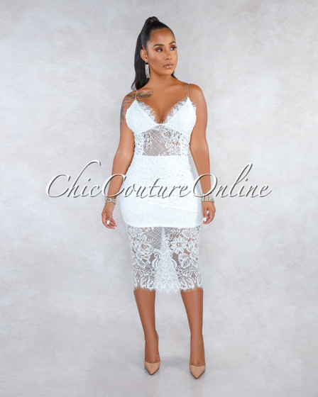 Rizza Off-White Lace Crochet Overlay Midi Dress