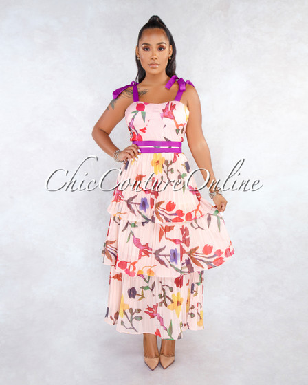 Queda Blush Floral Purple Accent Tier Pleated Maxi Dress