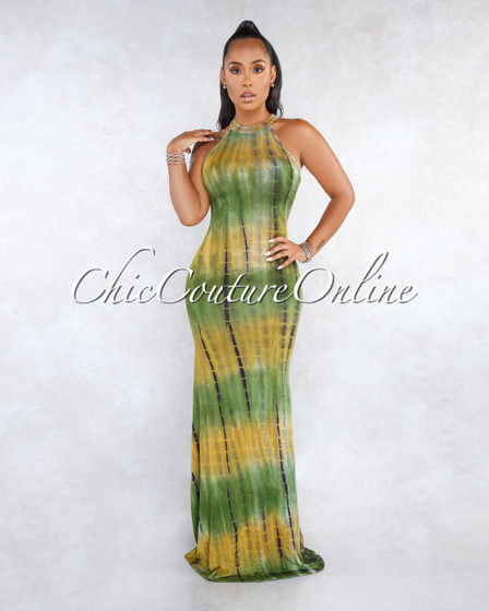 Valtina Olive Green Multi-Color Tie-Dye Back Cut-Out Maxi Dress