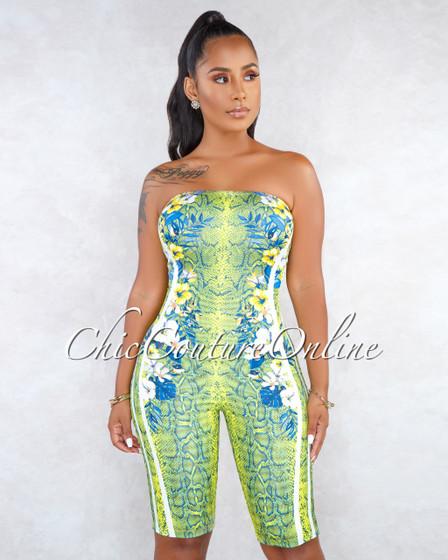 Simoni Green Blue Snake Floral Print Strapless Body-Con Romper