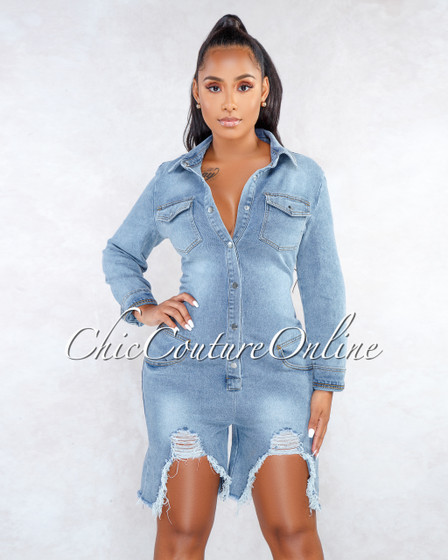 Rita Blue Denim Destroyed Silver Snaps Romper