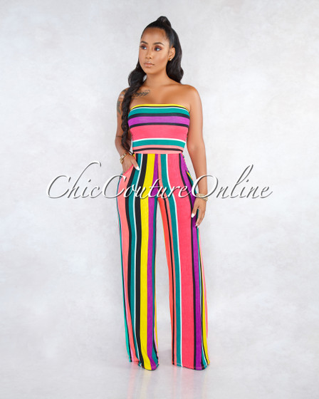 Ernsa Neon Pink Multi Color Stripes Strapless Jumpsuit