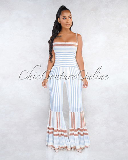 Tomma Off-White Blue Stripes Ruched Top Bell Hem Jumpsuit
