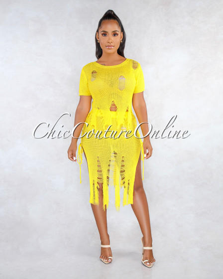 Veronique Yellow Distressed Lace Up Sides Cover-Up Set