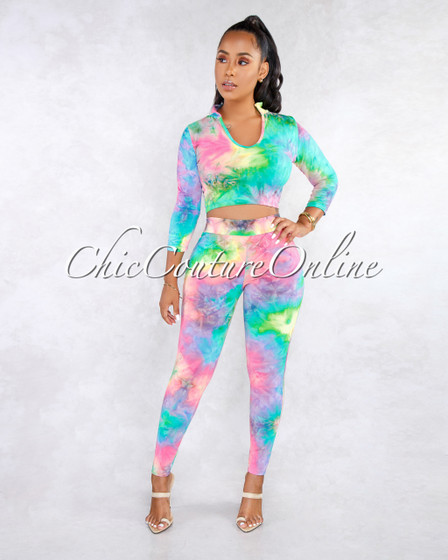 Sindee Pastel Rainbow Tye-Die Print Two Piece Pants Set