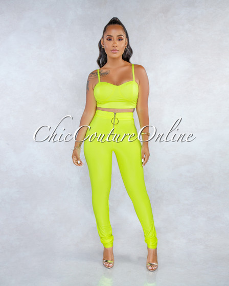 Calee Neon Lime Gold Zipper Accent Padded Cups Two Piece Set