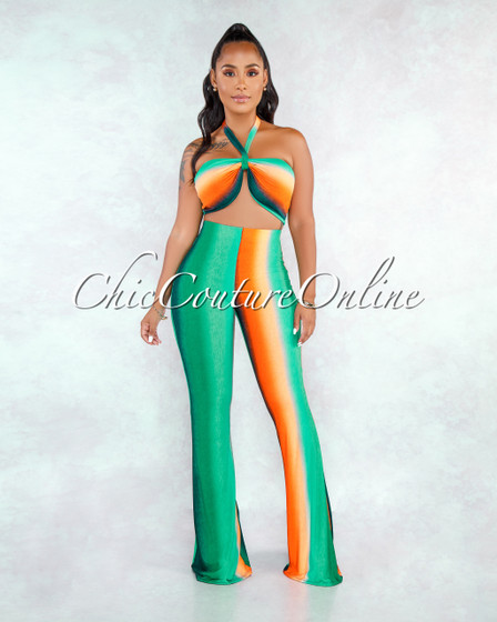 Helenia Green Multi-Color Ombré Stripes Two Piece Set