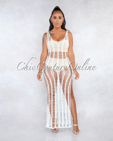 Dandelion Off-White Crochet Cover-Up Dress