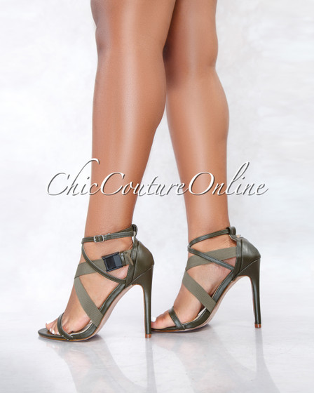 Reni Olive Criss-Cross Black Buckle High Heel Sandals