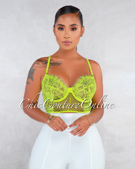 Marvela Neon Green Lace Sheer Crop Bralette