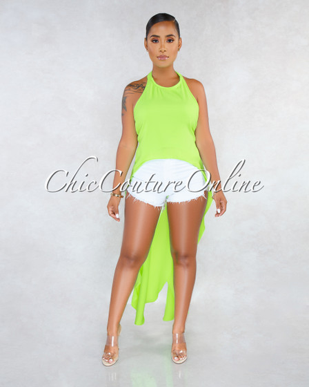 Terrie Neon Green Dramatic High-Low Shift Open Back Top