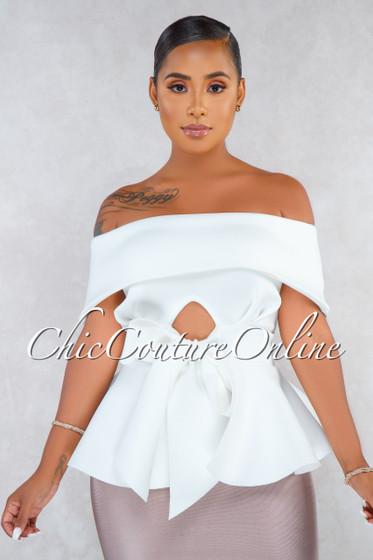 Suleima Off-White Front Tie Strapless Ponti Peplum Blouse