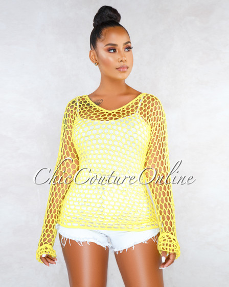 Deci Neon Yellow Crochet See-Through Cover-Up Top