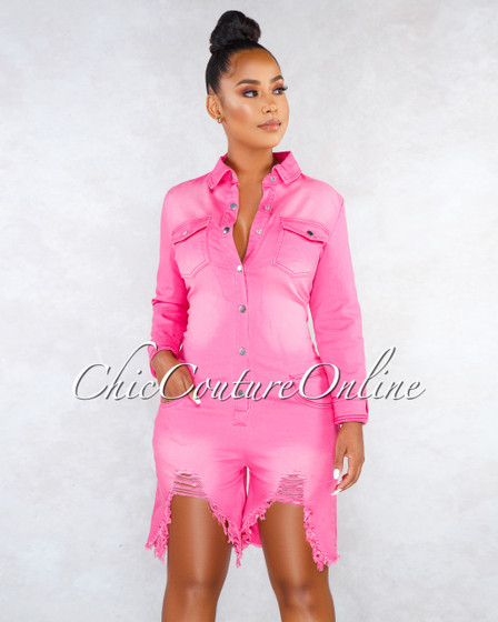 Rita Fuchsia Denim Destroyed Silver Snaps Romper